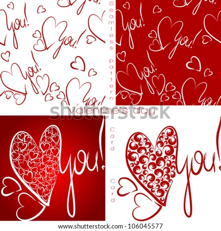 Seamless Wallpaper Valentine I Love You Vector Valentines Day Set Calligraphic