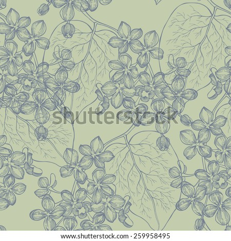 Seamless wallpaper with a branch of lilac blossoms. Vector illustration. - stock vector