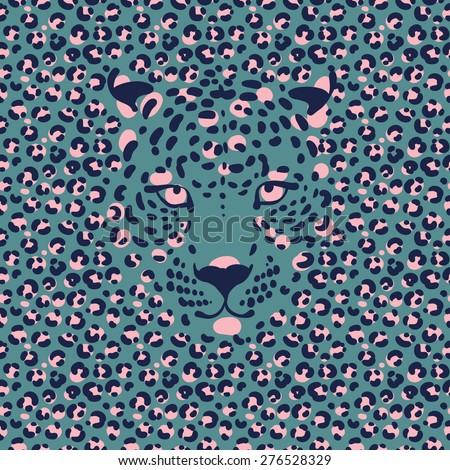 seamless wallpaper with a leopard print and a silhouette of the muzzle of leopard,  - stock vector