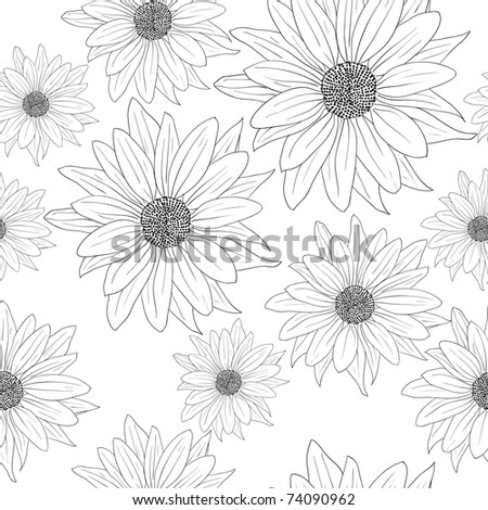 Seamless wallpaper with beautiful flowers - stock vector