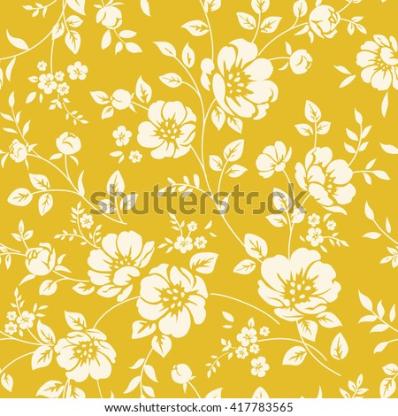 Seamless wallpaper with blooming flowers in classic style.  - stock vector