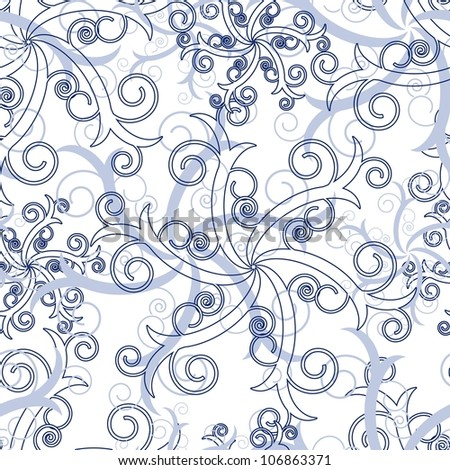 Seamless wallpaper with blue abstract swirl ornament elements