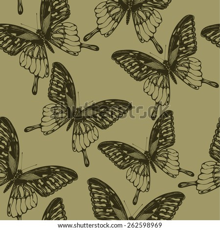 Seamless wallpaper with  butterflies, hand-drawing. Vector illustration. - stock vector