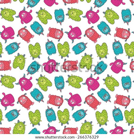 seamless wallpaper with colorful monsters on a white background - stock vector