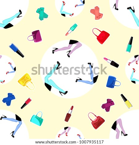 Seamless Wallpaper With Female Legs In High Heels And Shopping BagsVector Illustration