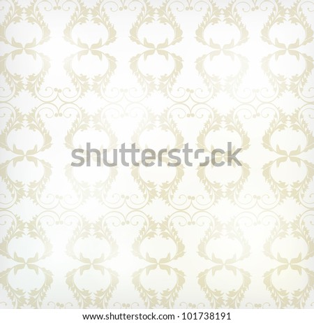 Seamless Wallpaper with floral ornament with leafs and flowers for vintage design - stock vector