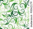 Seamless wallpaper with green abstract swirl ornament elements - stock vector