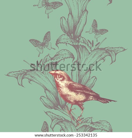 Seamless wallpaper with lilies and birds, hand-drawing. Vector illustration. - stock vector