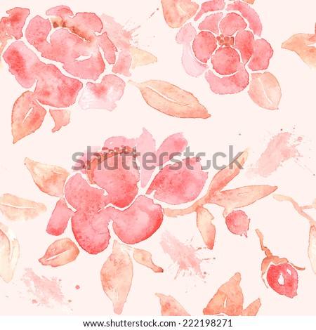 Seamless wallpaper with Peony flowers. Watercolor painting in vector. - stock vector