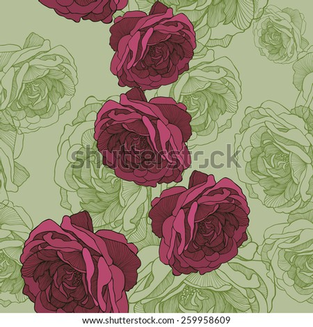 Seamless wallpaper with rose tea, hand-drawing. Vector illustration. - stock vector