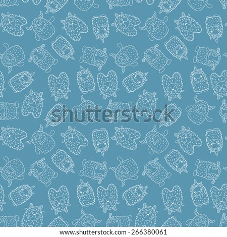 seamless wallpaper with the contours of monsters on a dark background - stock vector