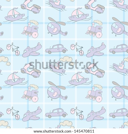 Seamless wallpaper with the image of transport. - stock vector