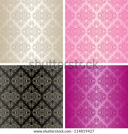 Seamless wallpapers - set of four colors.
