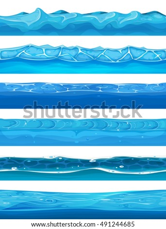 Seamless Water, Ocean And River Layers For Ui Game/ Illustration of a set of seamless water, rivers, waves and streams layers for game ui