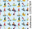 seamless water sport pattern,cartoon vector illustration - stock vector