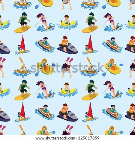 seamless water sport pattern,cartoon vector illustration - stock vector