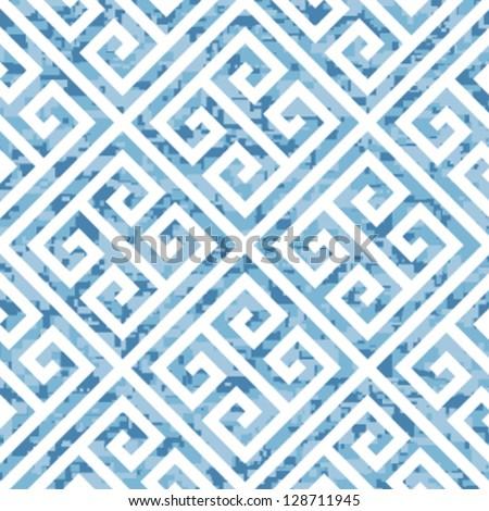 Seamless Water Themed Greek Key Background Pattern - stock vector