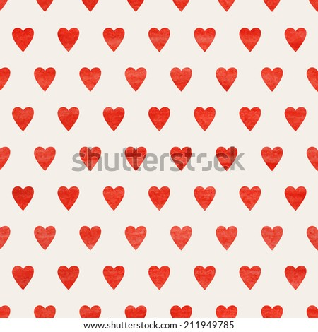 Seamless watercolor background with hearts. Vector illustration.Eps10. - stock vector