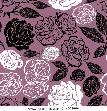 "Seamless watercolor floral pattern with roses (From my big ""Seamless collection"") - stock vector"