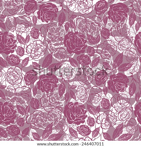 """Seamless watercolor floral pattern with roses (From my big """"Seamless collection"""") - stock vector"""