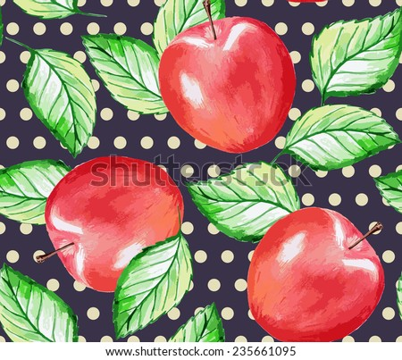 Seamless watercolor hand drawn apple pattern. Vector illustration.  - stock vector