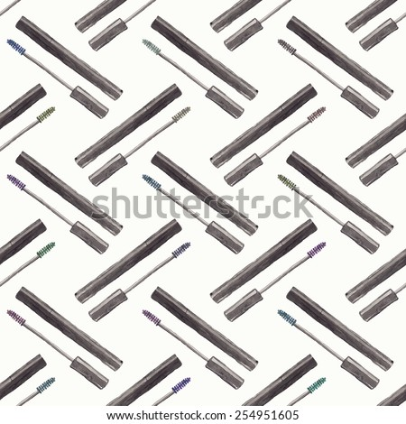 Seamless watercolor pattern with beauty items on the white background, aquarelle mascara.  Vector illustration. Hand-drawn original cosmetics background. Useful for invitations, scrapbooking, design. - stock vector