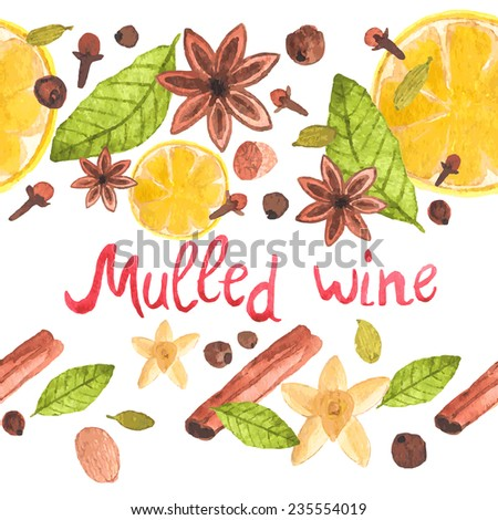 Seamless watercolor pattern with cinnamon, ginger,cloves,allspice,cardamom, nutmeg, star anise on the white background, aquarelle.  Vector illustration.  Useful for menu, scrapbooking, design. - stock vector
