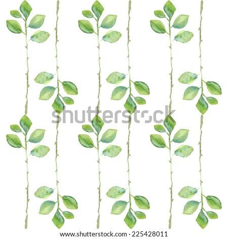 Seamless watercolor pattern with green leafs - stock vector