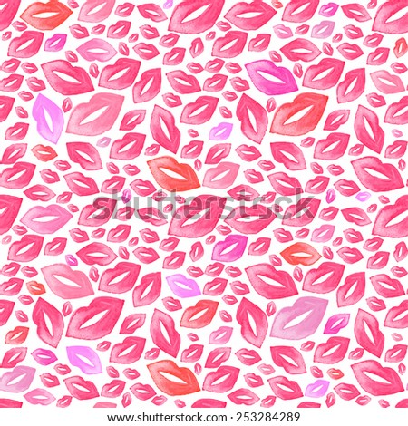 Seamless watercolor pattern with lip stains on the white background, aquarelle kisses.  Vector illustration. Hand-drawn original cosmetics background. Useful for invitations, scrapbooking, design. - stock vector