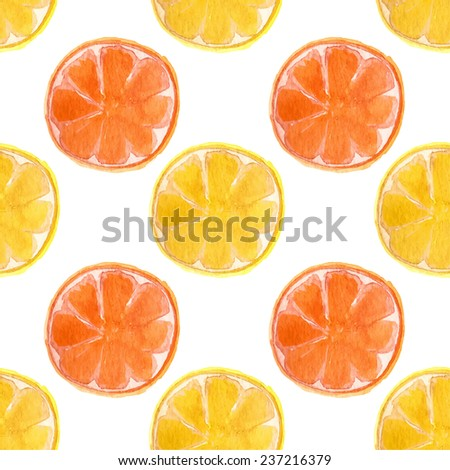 Seamless watercolor pattern with oranges and lemons on the white background, aquarelle.  Vector hand-drawn background. Original fruit background. Useful for invitations, scrapbooking, design. - stock vector