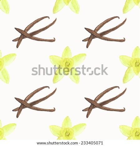 Seamless watercolor pattern with vanilla on the white background, aquarelle.  Vector illustration. Hand-drawn background. Spice for mulled wine. Useful for invitations, scrapbooking, design. - stock vector