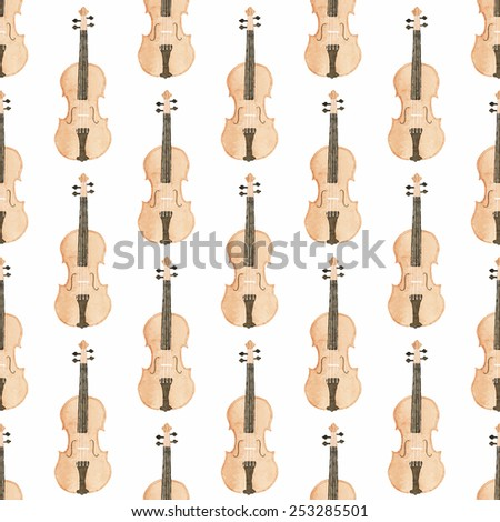 Seamless watercolor pattern with violin on the white background, aquarelle. Vector illustration. Hand-drawn background. Original background. Useful for invitations, design. Classical and modern music - stock vector