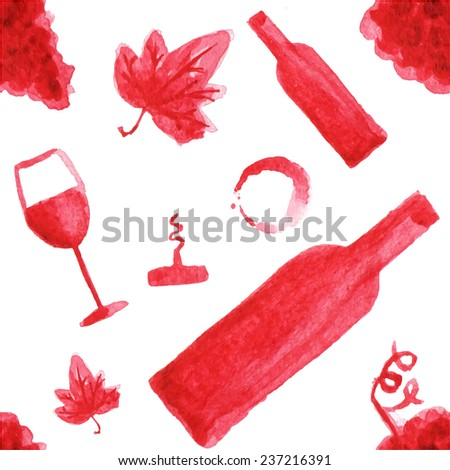 Seamless watercolor pattern with wine stuff on the white background, aquarelle.  Vector illustration. Hand-drawn background.Original wine theme background.Useful for invitations, scrapbooking, design. - stock vector