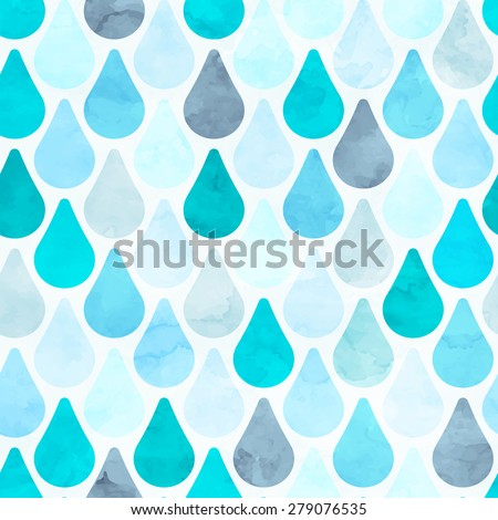 Seamless watercolor rain pattern. Vector illustration - stock vector