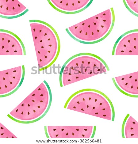 Seamless Watermelon Pattern in Watercolor style
