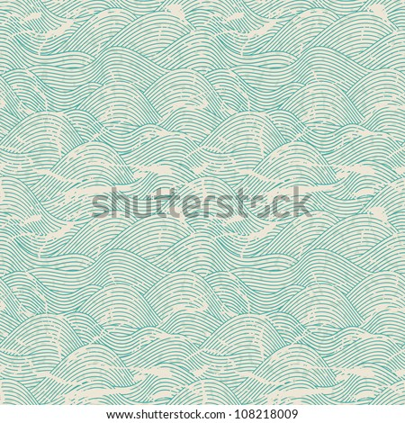 Seamless wave hand drawn pattern. Abstract vintage background. - stock vector