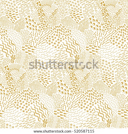 Seamless wave hand-drawn pattern, organic waves background seamlessly tiling