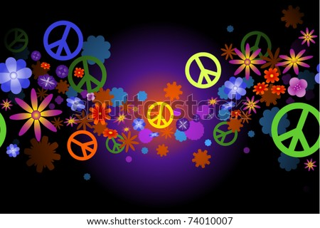 Seamless wave of flower blossoms and peace signs - stock vector