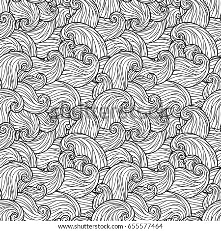 seamless wave pattern for coloring book - Coloring Book Patterns