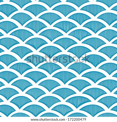 Seamless waves pattern. Vector hand drown illustration  - stock vector
