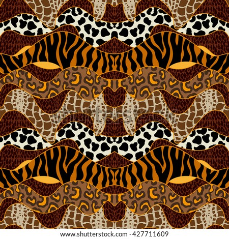 Seamless wavy vector pattern with animal prints. Tiger stripes, leopard spots, reptile skin, snake. Bohemian borders. Safari textile collection. - stock vector