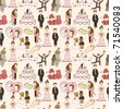 seamless wedding pattern - stock photo