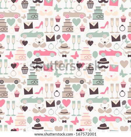 Seamless wedding pattern in retro colors. Vector background - stock vector