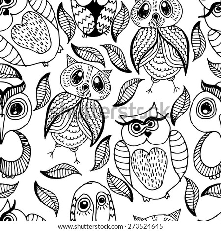 Seamless white and black pattern of four different owls - stock vector