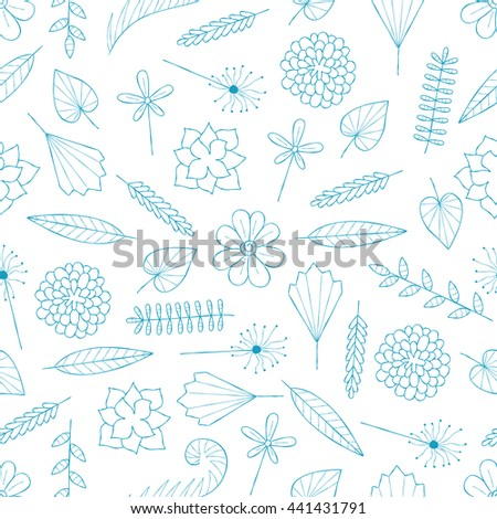 Seamless White Background Flower Elements