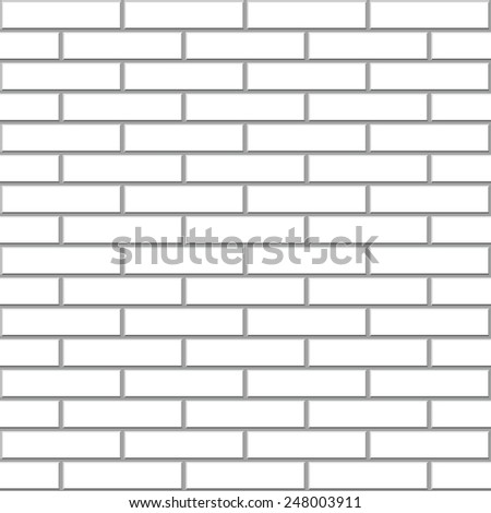 Seamless white brick wall vector pattern. - stock vector
