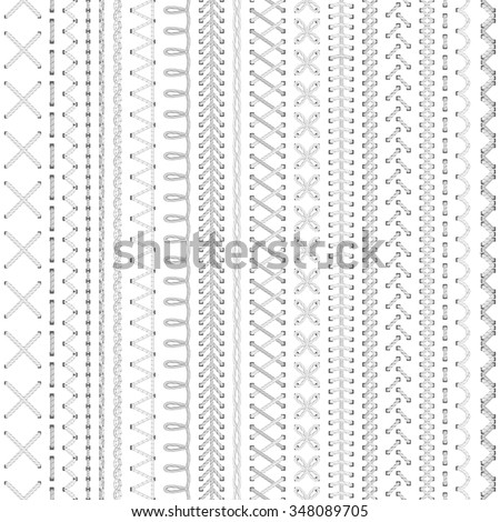 Seamless white embroidery pattern. Vector high detailed monochrome stitches on white background. Boundless texture. - stock vector