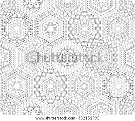 Seamless white embroidery pattern. Vector high detailed stitches. Ethnic textile hexagons boundless background.  - stock vector