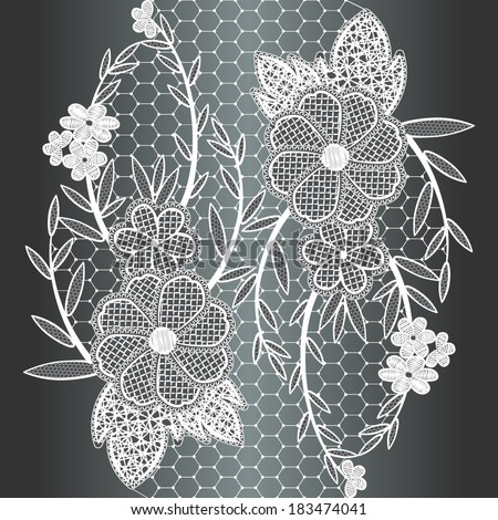 Seamless white floral lace ribbon. Ornament of flowers on a white grid. Can be used to design cards and invitations. Vector illustration. - stock vector