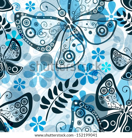 Seamless white floral pattern with translucent butterflies and blue flowers (vector eps 10) - stock vector